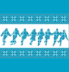 Blue ethnic background with traditional dancers vector