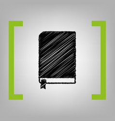 book sign black scribble icon in citron vector image