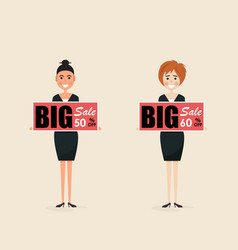 business people and discount offer price board vector image