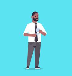 Businessman in formal wear drinking coffee vector