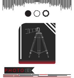 Camera with tripod on a black and red vector