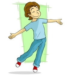 Cartoon dancing young guy vector image