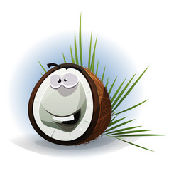 cartoon funny coconut character vector image
