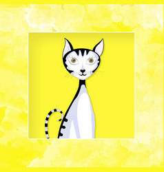 cat graphic paper cut vector image