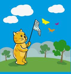 cat is catching butterflies vector image