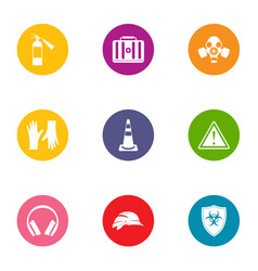 chemical defense icons set flat style vector image