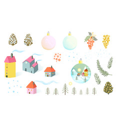 christmas or new year isolated objects house fir vector image