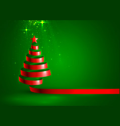 christmas tree tape red design banner art vector image