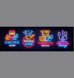 cigarette shop logo collection neon smoke vector image