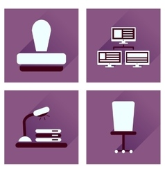 Concept of flat icons with long shadow office vector image