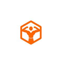 creative hexagon body fitness logo vector image