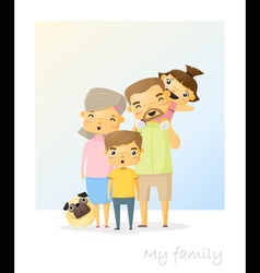 Cute family portrait Happy family background 2 vector image
