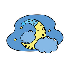 Cute moon with sleep hat design and clouds with vector