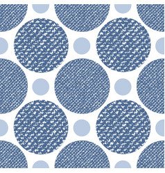 Denim jeans texture seamless pattern with circles vector