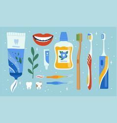 dentist accessories oral dental hygiene items vector image