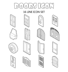 Door icons set in outline style vector image