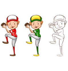 drafting character for baseball player vector image