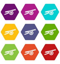 Enemy cannon icons set 9 vector