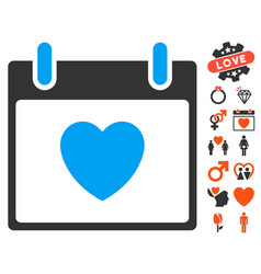 Favourite heart calendar day icon with dating vector