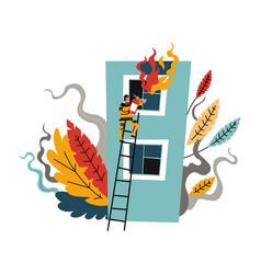 Fire brigade man firefighter climbing on ladder vector