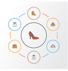 Garment colorful outline icons set collection of vector