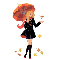 girl umbrella 380 vector image