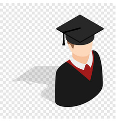 graduate man in cap and gown isometric icon vector image