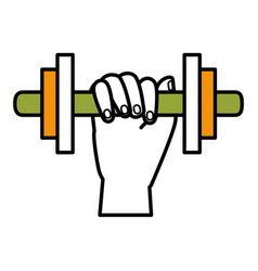 Hand human with weight lifting equipment icon vector