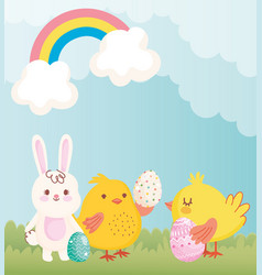 happy easter cute rabbit chickens with eggs vector image