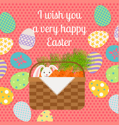 Happy easter pink vertical greeting card vector