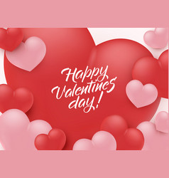 happy valentine day congratulation banner with red vector image
