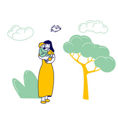 Happy woman walk with child in city park young vector
