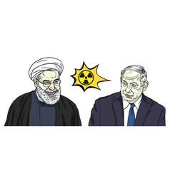 Hassan rouhani and benjamin netanyahu vector