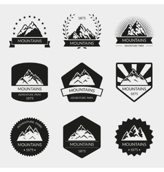 High mountain logo set vector image