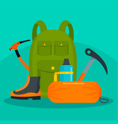 Hiker backpack with tools and shoes background vector