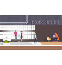 Hotel reception and lobinterior with character vector