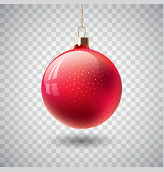 Isolated red christmas ball on transparent vector