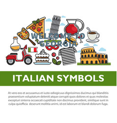 italian national symbols promotional poster with vector image
