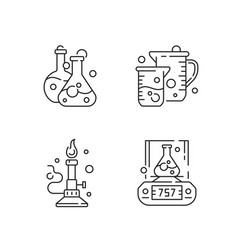 Lab tools linear icons set vector