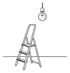 ladder and light bulb sketch vector image
