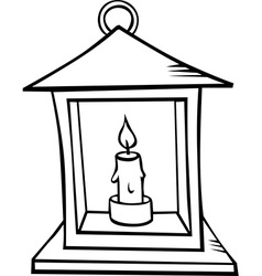 Lantern with candle - black outline vector