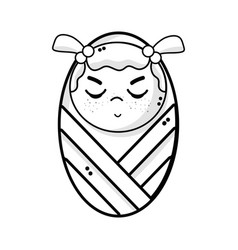 Line cute baby girl with hairstyle in the blanket vector