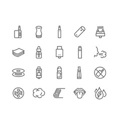 Line vape icons vector