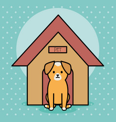 Little dog adorable with wooden house vector