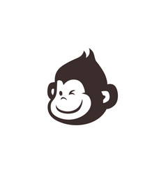 little monkey chimp logo icon vector image