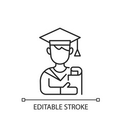 Male student linear icon vector