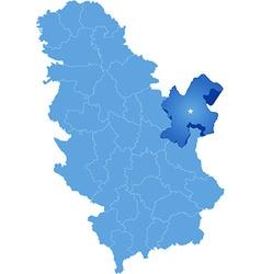Map of Serbia Subdivision Bor District vector