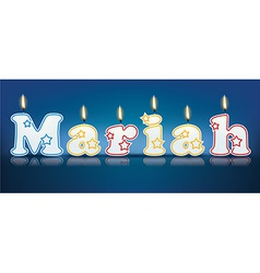 MARIAH written with burning candles vector image