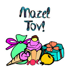 Mazel tov inscription translation i happiness vector