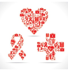 Medical icons make a heartaids and cross shape vector